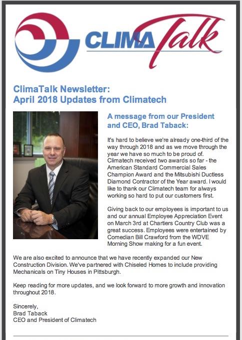 Climatalk Newsletter April 2018