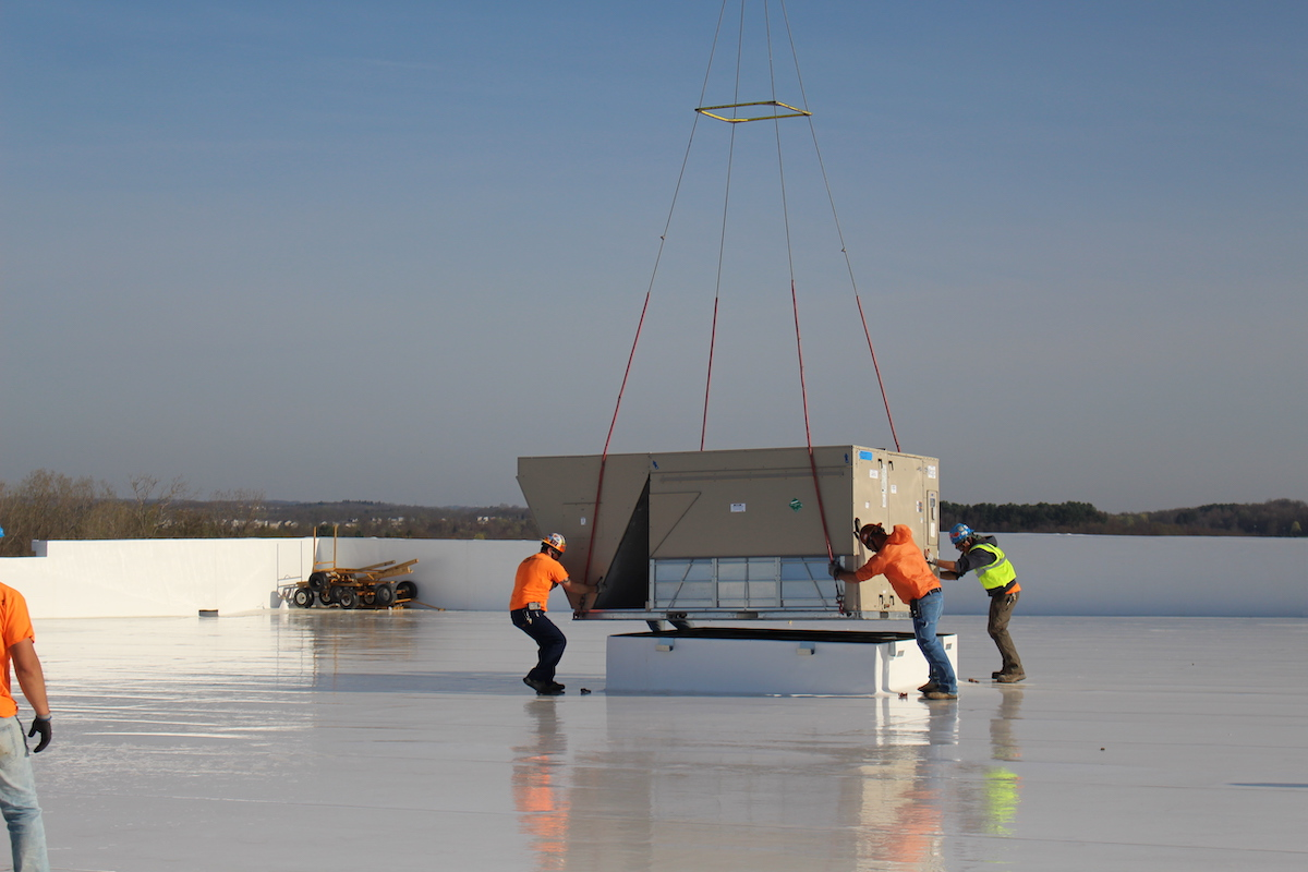 Helicopter Lift of HVAC Units